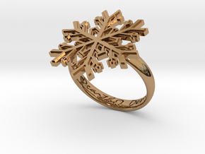Snowflake Ring 1 d=18.5mm h35d185 in Polished Brass