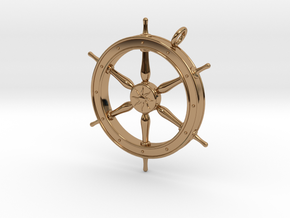Ship's Wheel Pendant in Polished Brass