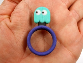 "Pac-Man ""Inky"" Ghost Ring in Full Color Sandstone"