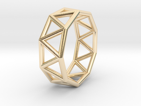 0424 Nonagonal Antiprism (a=1cm) #001 in 14K Yellow Gold