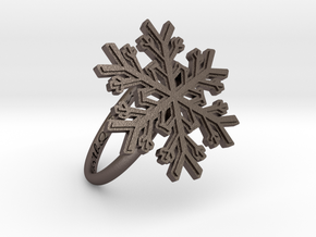 Snowflake Ring 1 d=18.5mm h21d185 in Polished Bronzed Silver Steel