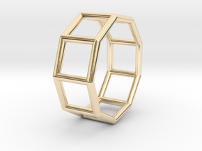 0427 Nonagonal Prism (a=1cm) #001 in 14K Yellow Gold