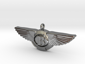 Pendant with wings /  50mm width in Premium Silver