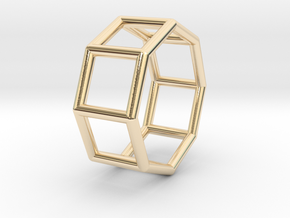 0433 Octagonal Prism (a=1cm) #001 in 14K Yellow Gold