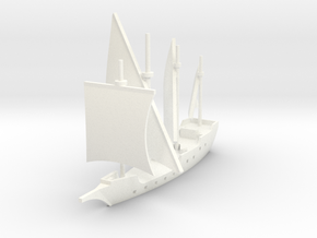 1/1000 Caravela de Armada version 1 in White Strong & Flexible Polished