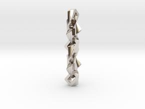 Rectangular chain pendant in Rhodium Plated Brass