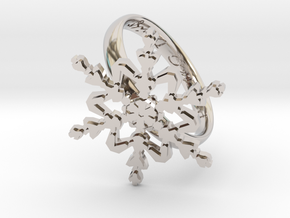 Snowflake Ring 2 d=19.5mm h35d195 in Rhodium Plated Brass