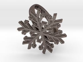 Snowflake Ring 1 d=19.5mm h35d195 in Polished Bronzed Silver Steel