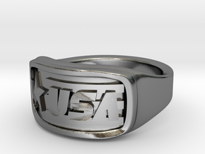 Ring USA 56mm in Fine Detail Polished Silver