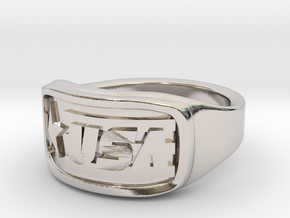 Ring USA 57mm in Rhodium Plated Brass