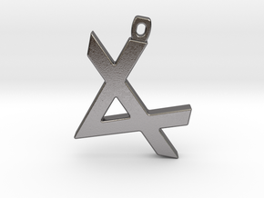 Letter ALEPH - Paleo Hebrew - With Chain Loop in Polished Nickel Steel