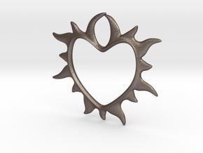 Eternal love in Polished Bronzed Silver Steel