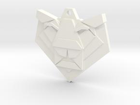 Lion Origami Earring in White Processed Versatile Plastic