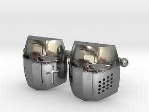 Knight Helmet Cufflinks in Polished Silver