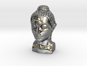 Bust of Buddha in Fine Detail Polished Silver