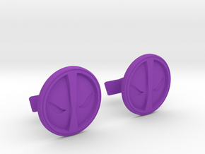 Deadpool Cufflinks in Purple Processed Versatile Plastic