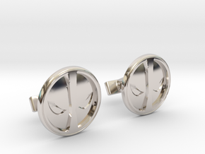 Deadpool Cufflinks in Rhodium Plated Brass