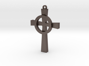 Celtic Cross 4 in Polished Bronzed Silver Steel