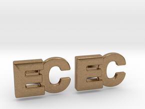 Monogram Cufflinks EC in Natural Brass