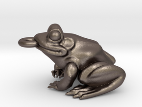 Frog Pendant Alone in Polished Bronzed Silver Steel