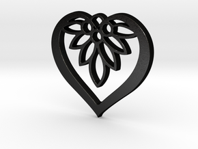 Flower of my Heart Pendant - Amour Collection in Matte Black Steel
