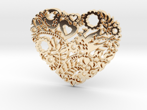 Two Birds in a Heart's Garden - Amour  in 14k Gold Plated Brass: Large