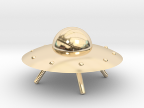 UFO with Landing Gear in 14k Gold Plated Brass