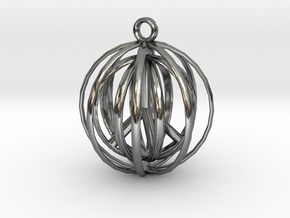 3D  Peace In A Protective Shield Pendant/Key Chain in Fine Detail Polished Silver