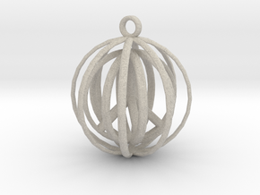 3D  Peace In A Protective Shield Pendant/Key Chain in Natural Sandstone