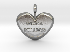 One in a Million Valentine Heart pedant in Natural Silver