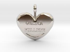 One in a Million Valentine Heart pedant in Rhodium Plated Brass