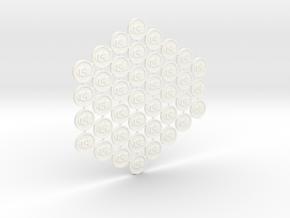 Culture Tokens (40 pcs) in White Processed Versatile Plastic