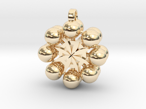 Flower Of Life In 3D Multiverse  in 14k Gold Plated Brass