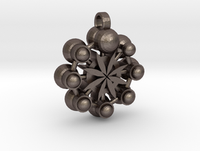 Flower Of Life In Circular Multiverse Love Engine in Polished Bronzed Silver Steel