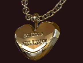 One in a Million Valentine Heart pedant in 14k Gold Plated Brass