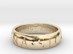 Size 9 Sir Francis Drake, Sic Parvis Magna Ring  in 14k Gold Plated Brass