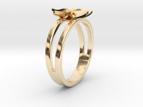 Flower Ring Size 6 in 14k Gold Plated Brass
