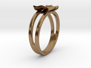 Flower Ring Size 7 in Natural Brass