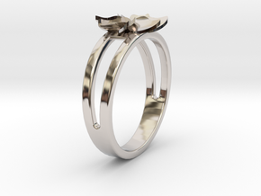 Flower Ring Size 7 in Rhodium Plated Brass