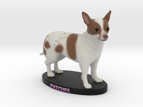 Custom Dog Figurine - Patches in Full Color Sandstone