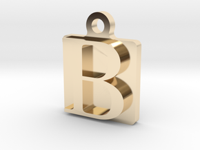 Letter B Pendant in 14K Yellow Gold