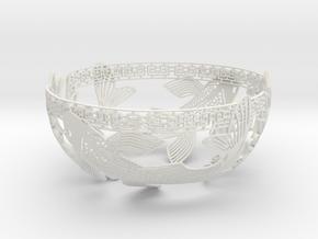 Decorative Koi Bowl in White Natural Versatile Plastic