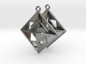 OCTAHEDRON Earrings Nº1 in Polished Silver