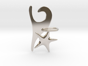 Wave and Starfish in Rhodium Plated Brass