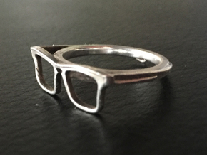 Hipster Glasses Ring Origin Size 10 (size 6-10) in Polished Silver