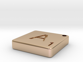 """""""A"""" Tile in 14k Rose Gold Plated"""