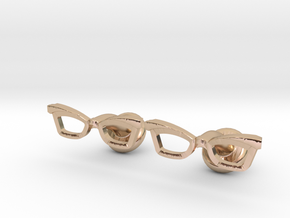 Hipster Glasses Cufflinks Female in 14k Rose Gold Plated