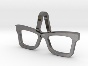 Hipster Glasses Pendant Origin in Polished Nickel Steel