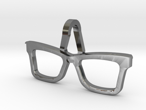 Hipster Glasses Pendant Origin in Polished Silver