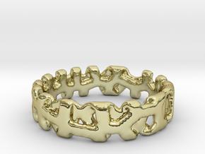 Voronoi 1 Design Ring Ø 19 mm/Ø 0.748 inch in 18k Gold Plated Brass